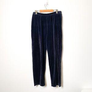 Vintage Velour Navy High Waist Lounge Athleisure Pants